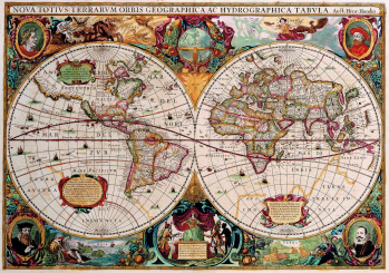 Antique World Map 1630 the long goodbye